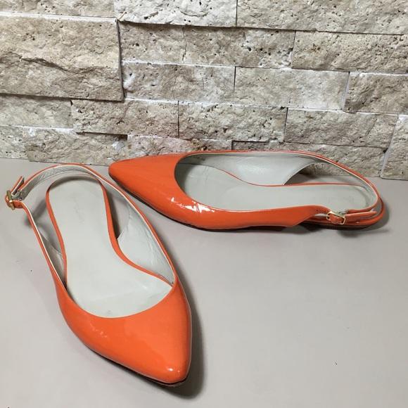 de33fd301096 Boden Shoes | Orange Patent Leather Flats Size 38 75 | Poshmark